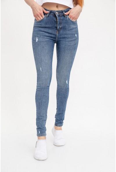 Джинсы женские Skinny с легкими потертостями 129R2011-1 светло-синие
