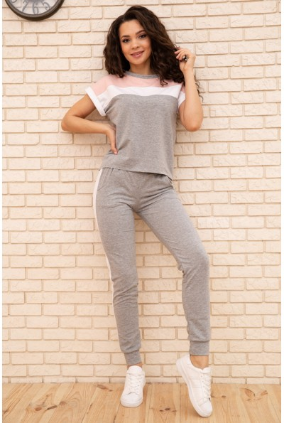 Спортивный  костюм женский 102R190-1 цвет Серо-розовый 55348