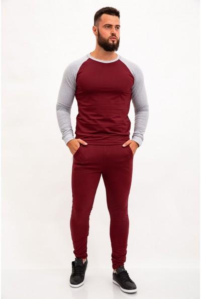 Спортивный костюм мужской, трикотажный, бордовый с серыми вставками 102R039