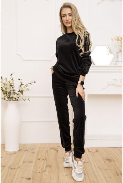 Повседневный женский костюм велюровый цвет Черный 119R269-1