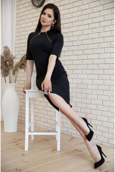 Черное платье футляр с разрезом и декоративными молниями 167R28-2 54303