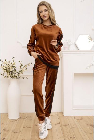 Повседневный женский костюм велюровый цвет Коричневый 119R269-1 52965