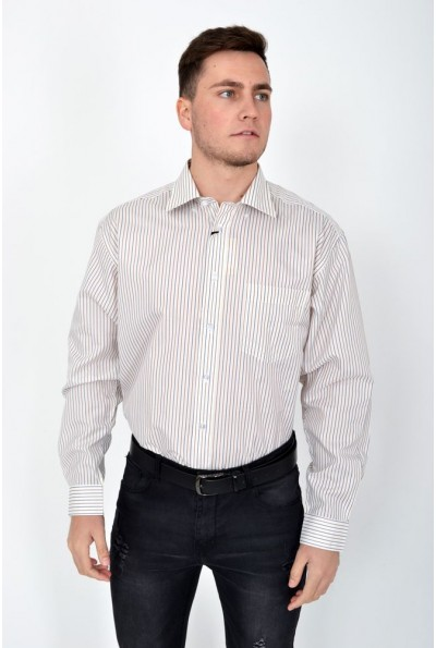 Рубашка мужская классическая молочная с синей полоской 113RZeg008