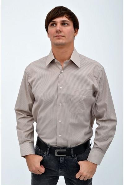 Рубашка мужская коричневая в косую полосу 113RPass18
