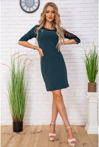 Нарядное мини платье с гипюровыми вставками цвет Темно-зеленый 172R38-1 57248