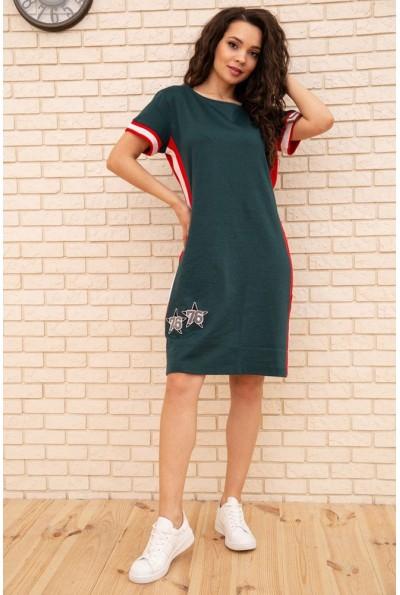 Платье в спортивном стиле с коротким рукавом и лампасами цвет Зеленый 167R1635 56319