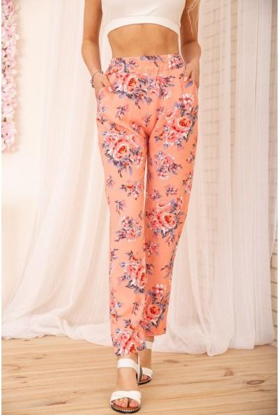 Летние хлопковые штаны с цветочным принтом цвет Персиковый 172R65-1