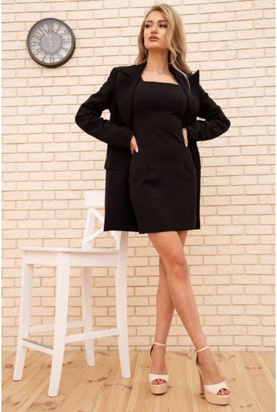 Женский костюм платье без рукавов и удлиненный жакет цвет Черный 167R1828 56377