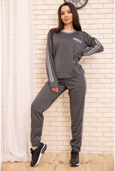Повседневный женский костюм Свитшот и штаны с лампасами Черный 172R002