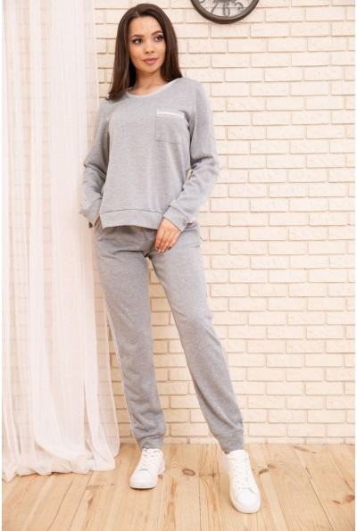 Повседневный женский костюм Свитшот и штаны с лампасами Серый 172R002 55073