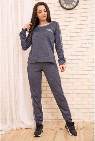 Повседневный женский костюм Свитшот и штаны с лампасами Синий 172R002 55075