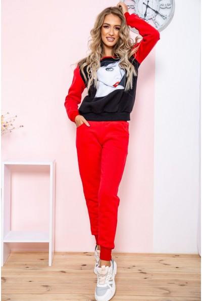 Спорт костюм женский на флисе   цвет черно-красный 167R616 65412