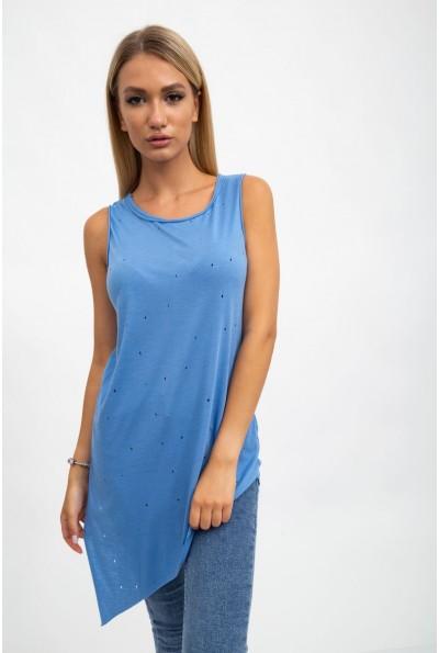 Майка женская, однотонная,асимметрия, светло-голубаяджинс131R116950S