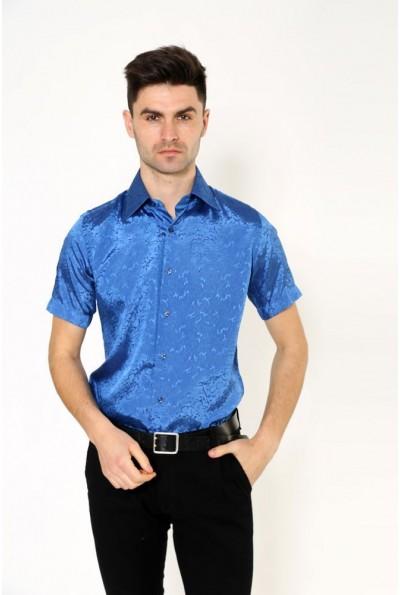 Рубашка с коротким рукавом синего Pas 888-2