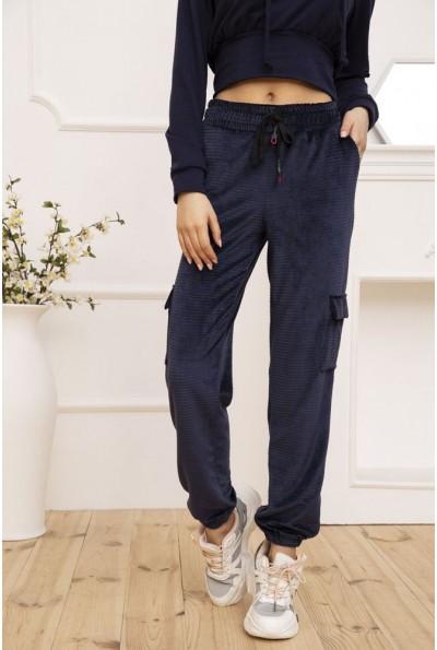 Штаны женские велюровые с боковыми карманами цвет Синий 119R371 53078