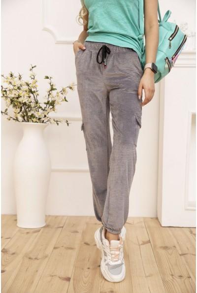 Штаны женские велюровые с боковыми карманами цвет Серый 119R371