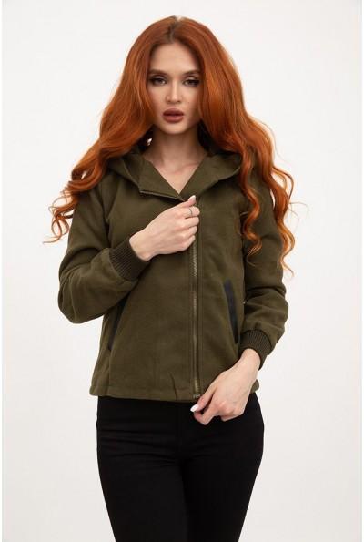 Куртка женская демисезонная, с капюшоном и вставками из эко кожи AG-0005408 Хаки