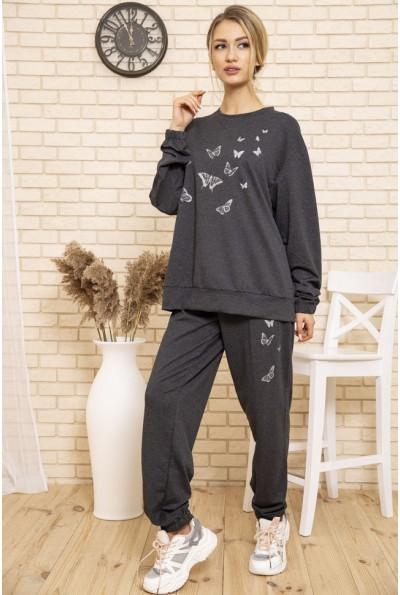 Спортивный костюм женский однотонный с бабочками цвет Темно-серый 102R168 49991