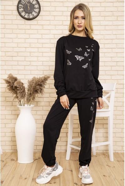 Спортивный костюм женский однотонный с бабочками цвет Черный 102R168