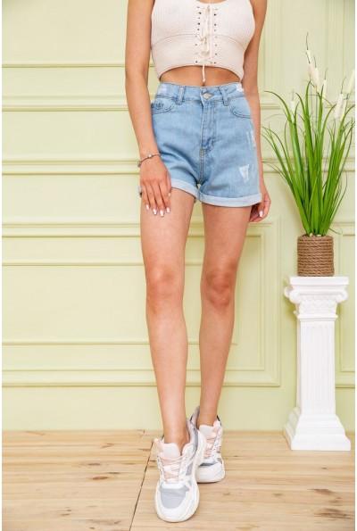 Джинсовые шорты женские 164R700-284 цвет Голубой 58976