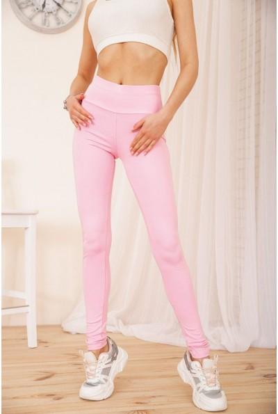 Женские леггинсы с карманами и вставками из эко-кожи цвет Розовый 172R711 55251