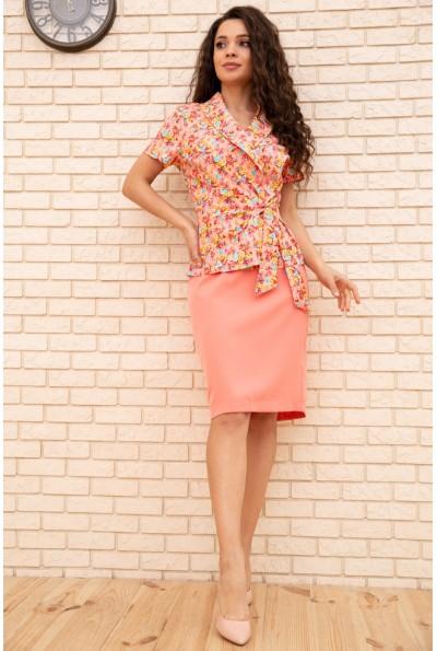 Женский костюм жакет с коротким рукавом и юбка Розовый 167R1641