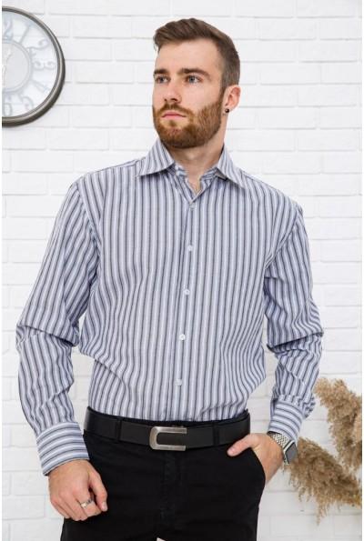 Офисная рубашка мужская серая с белым полоска 25#LS