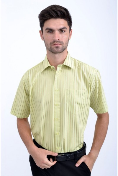 Салатовая рубашка мужская с карманом Fra №869-14KP