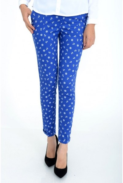Женские брюки с якорями синие 115R48-27