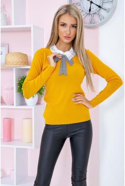 Свитер женский  нарядный  цвет горчичный 131R116-1 67351