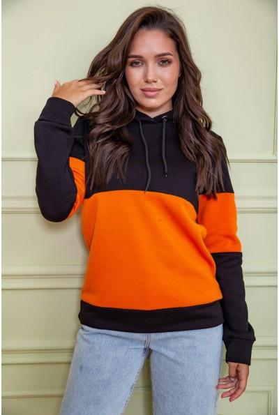 Худи женский на флисе 102R115 цвет Черно-оранжевый 61035