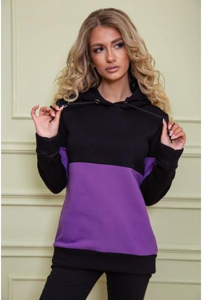 Худи женский на флисе 102R115 цвет Черно-фиолетовый 61037
