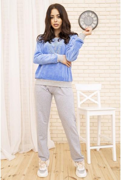 Женский повседневный костюм велюровый Голубой 167R28