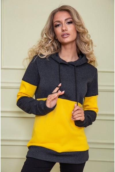Худи женский на флисе 102R115 цвет Грифельно-желтый 61021