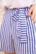 Женские шорты в полоску с пояском цвет Голубой 172R008 скидка