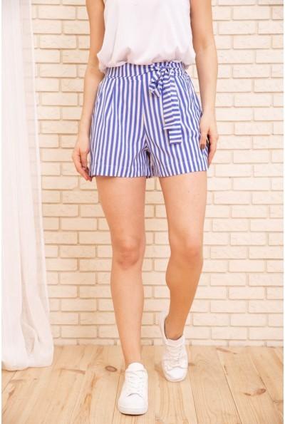 Женские шорты в полоску с пояском цвет Голубой 172R008 55792
