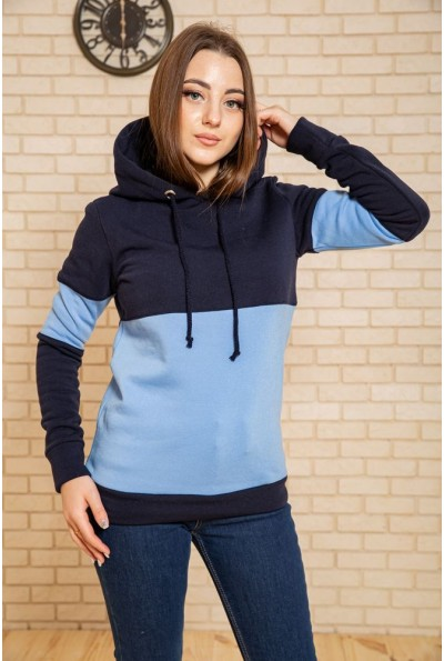Худи женский на флисе 102R115 цвет Сине-голубой 43456