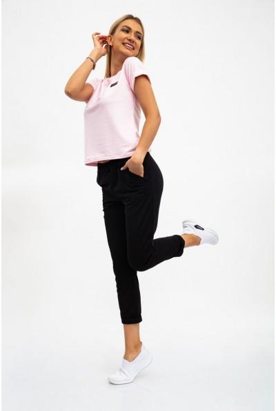 Костюм женский, розовая футболка и черные брюки 112R499