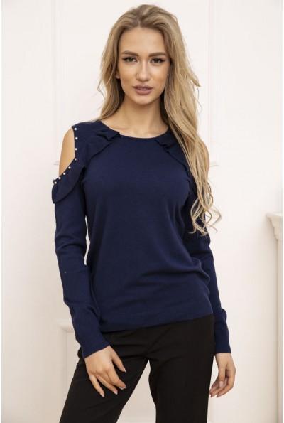Свитер женский с открытыми плечами цвет Темно-синий 131R6004