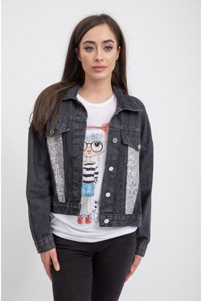 Джинсовая куртка женская 131R1073 цвет Черный