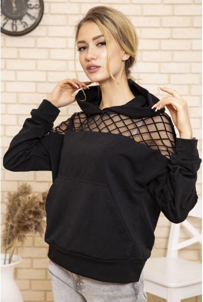Худи женский с сеткой на плечах и капюшоном цвет Черный 102R170 50047