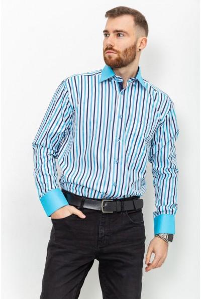 Бело-голубая рубашка с однотонным воротником и манжетами 9022-2