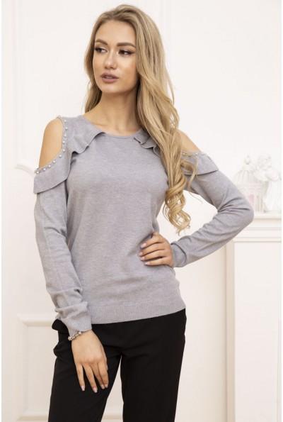Свитер женский с открытыми плечами цвет Серый 131R6004 53243