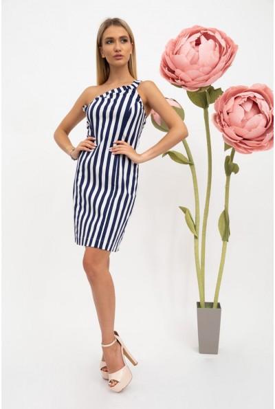 Платье женское, летнее, на одно плечо, полосатое, сине-белое 115R3301