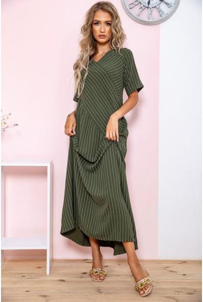 Платье в полоску   цвет хаки 150R658 65033