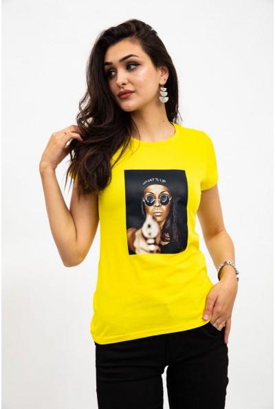Футболка женская, желтая с фото принтом 119R0113-2