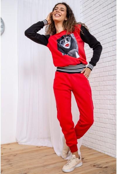 Спорт костюм женский на флисе   цвет красный 167R621 65265