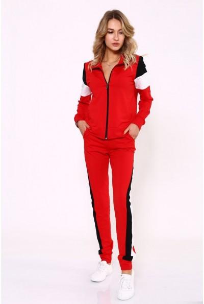 Женский демисезонный спортивный костюм красного цвета 102R032