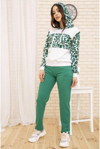 Женский повседневный костюм с капюшоном Бело-зеленый 167R20