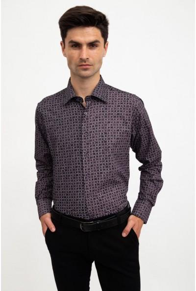 Рубашка мужская серо-коричневый, приталенная 0820-2